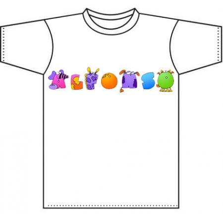 Camiseta infantil personalizada con el nombre, Fuente animalitos