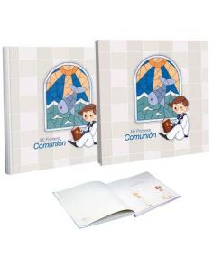 Libro de firmas Comunión con estuche niño vidriera