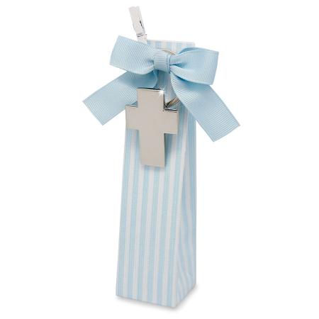 Llavero cruz en caja con peladillas, ideal detalles para Primera Comunión