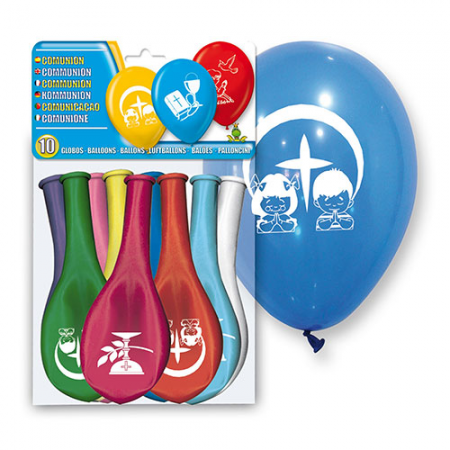 Globos para fiestas Primera Comunión colores surtidos