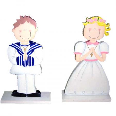 Figuras para el pastel en madera niña o niño