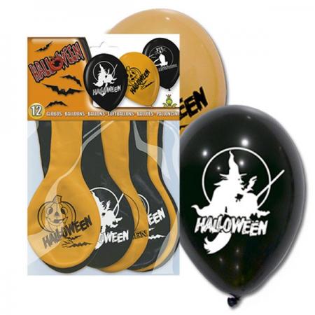Globos calabaza y brujas para adornar la fiesta de halloween