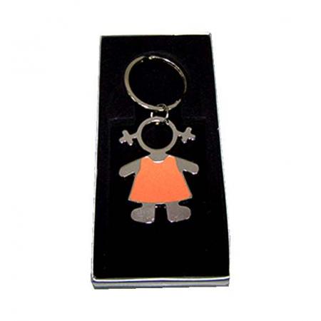 Llavero de metal esmaltado, niña con vestido naranja