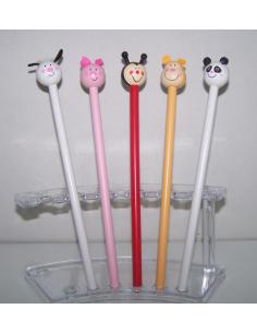 Lápiz de madera con divertidas cabezas de animalitos