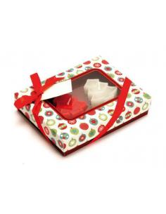 Set velas árbol navidad en caja regalo y decorado con un lazo