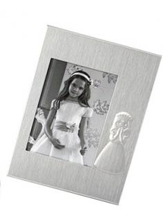 Marco de fotos de metal con silueta de niña vestida de Primera Comunión