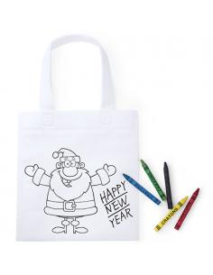 Bolsa blanca Papá Noel para pintar