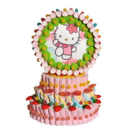 Tarta de nubes y chuches de 3 pisos, con oblea de Hello Kitty