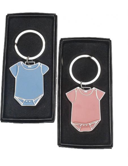 Llaveros de metal lacado body, de color rosa o azul, bebé