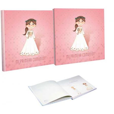Libro de firmas Comunión con estuche niña con cirio
