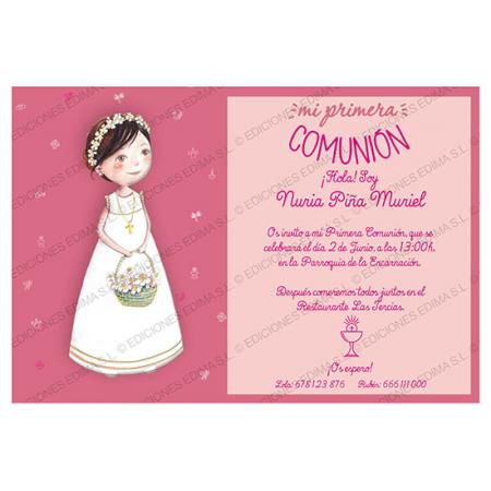 Invitacion Primera Comunión niña con diadema y cesta de flores