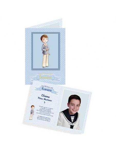 Portafotos para comunión de cartulina, niño con rosario