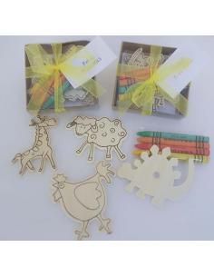 Cajita con 4 imanes madera con ceras y tarjeta personalizada