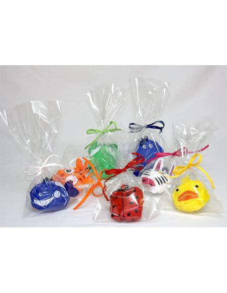 Mochila plegable animales en bolsa y tarjeta personalizada