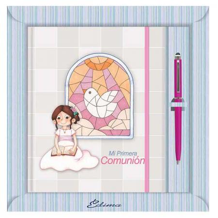 Diario para comunión, niña sentada leyendo la biblia