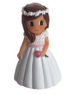 Figura detalle para comunión niña con rosa en la mano.
