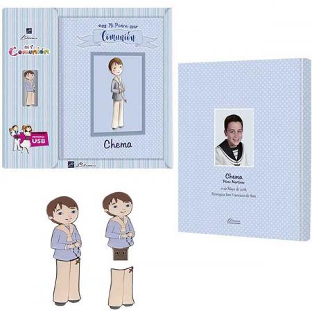 Libro de firmas para Comunión personalizado y con USB, niño con rosario