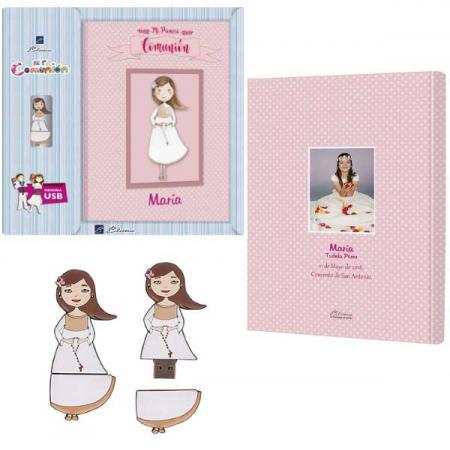 Libro de firmas para Comunión personalizado y con usb, niña con rosario