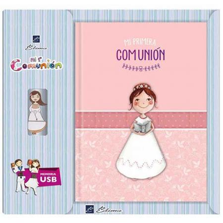 Libro de firmas niña con biblia y Usb