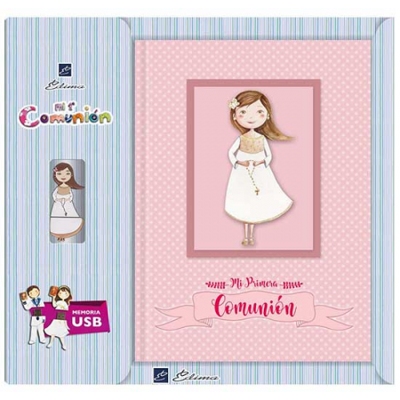 Libro de firmas para niña con rosario. Incluye memoria USB