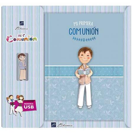 Libro de firmas para comunión niño con biblia. Incluye una memoria Usb