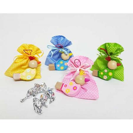 Pito pajarito en bolsa topos con caramelos y tarjeta personalizada
