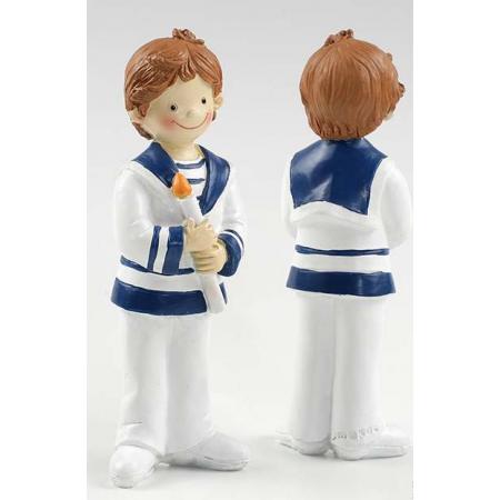 Muñeco para el pastel Primera Comunión niño con cirio en las manos traje de marinero