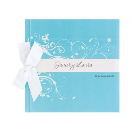 Libro de firmas para boda Detalle azul con lazo, personalizable.