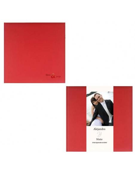 Libro de Firmas Boda Rojo, personalizado con banda y temograbado