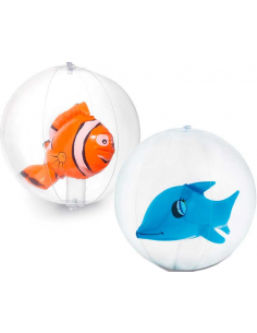Balones playa hinchable pez con muñeco interior