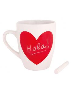 Mug taza en blanco con pizarra roja incluye tiza