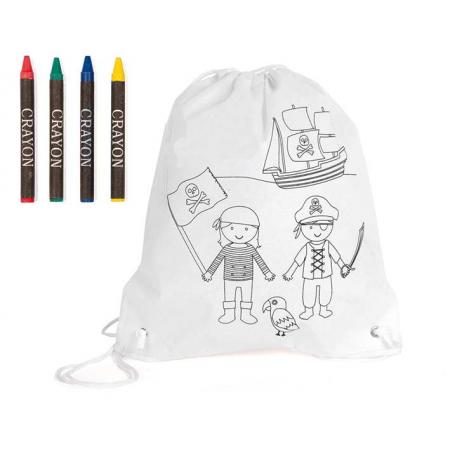 Mochila infantil para colorear, modelo pirata