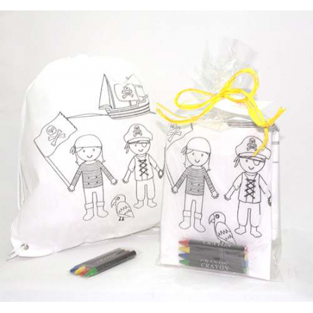 Mochila piratas para colorear con ceras y bolsa, rafia y tarjeta personalizada
