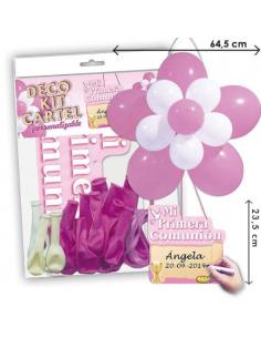 Cartel con globos para celebraciones de Comuniones niñas