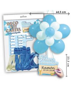 Cartel con globos para celebraciones de Comuniones niños