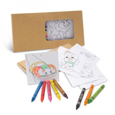 Set infantil para colorear compuesto por caja con 8 ceras de colores y 8 cartulinas plantillas