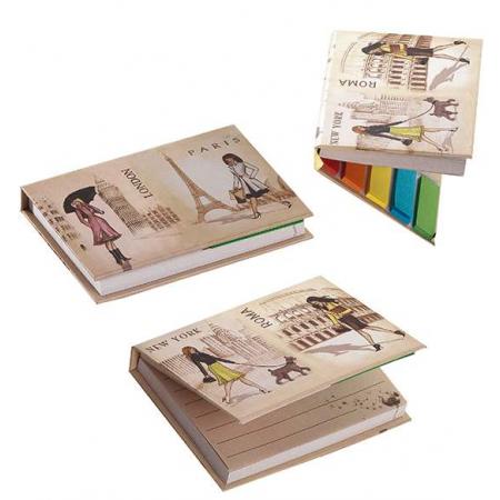Libreta de notas y hojas adhesivas con chicas ciudades, 8 x 11 cm.