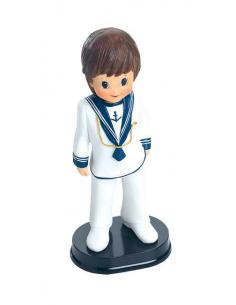 Muñeco para el paster de Primera Comunión niño traje marinero ancla en el pecho y cordon dorado