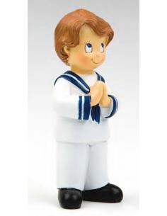 Muñeco para el pastel de primera comunión, niño traje de marinero con las manos rezando