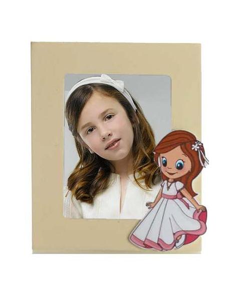 Marco de fotos en madera con sticker niña con vestido de Primera Comunión.