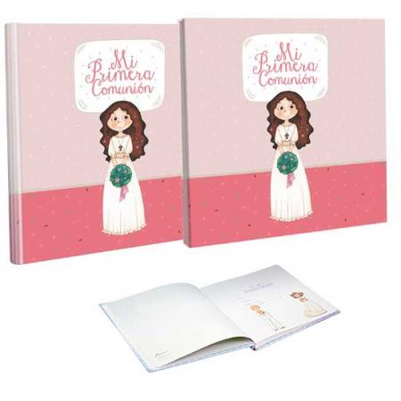 Libro de firmas Comunión con estuche niña con ramo de flores