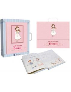 Libro de firmas Comunión niña con Rosario