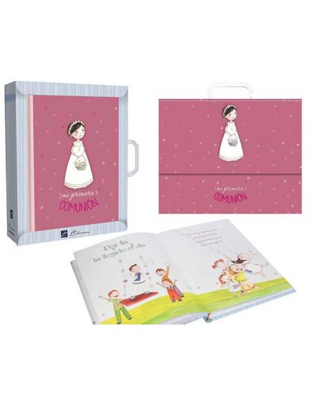 Libro de firmas Comunión niña con cesta de flores