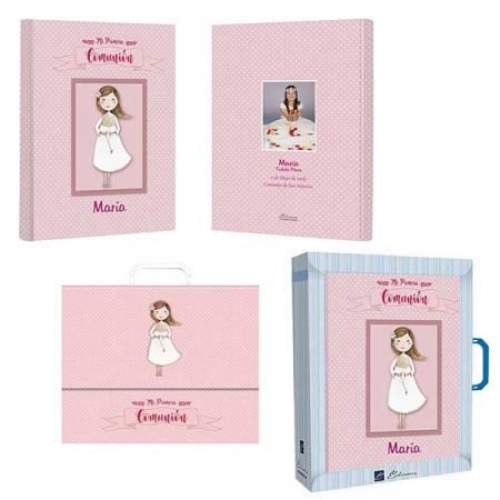Libro de firmas Comunión personalizado niña con maletín