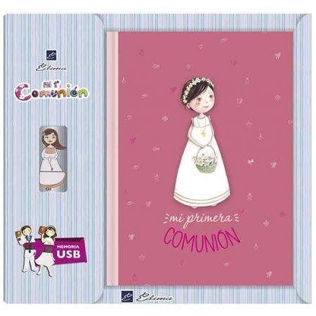 Libro de firmas Primera Comunión, niña con flores, con USB