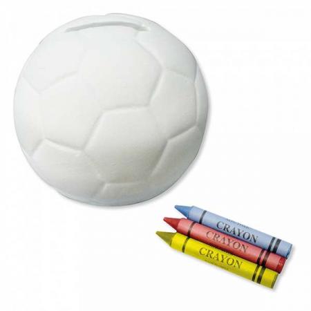 Hucha balón blanco de cerámica para pintar con ceras