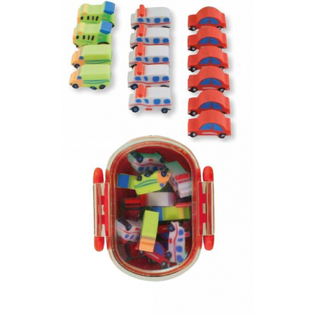Cajita de plástico con 15 gomas de borrar con formas de coches