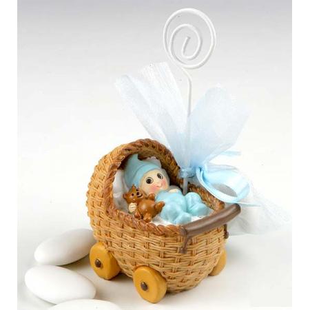 Portafotos niño bebé en carrito con peladillas. Recuerdo de bautizo