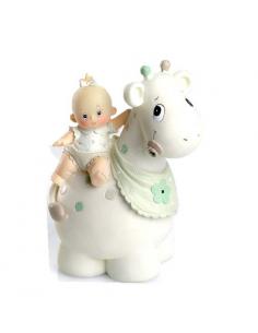 Hucha figura de tarta para bautizo o baby shower niña bebé sobre jirafa.