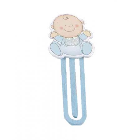 Punto de lectura de madera, niño bebé en azul